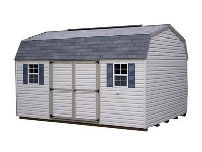 A vinyl high barn shingle with a double door, two windows and a ridge vent