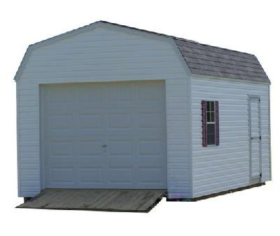 The Vinyl High Barn Garage with a 3 foot wide door, one window with shutters and a treated wooden ramp