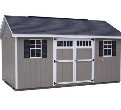 A painted shed with a classic style roof. Shed is shingled and a double door with transom windows.