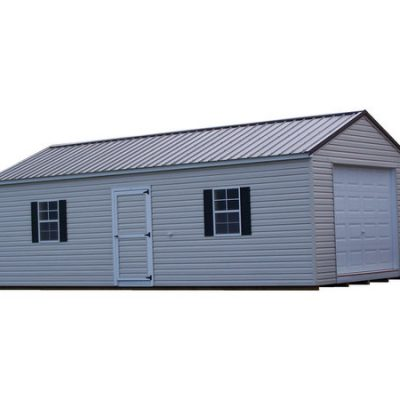 A 14x28 size, vinyl shed with an a-roof style metal roof. Shed has a single vinyl door and a garagee door.