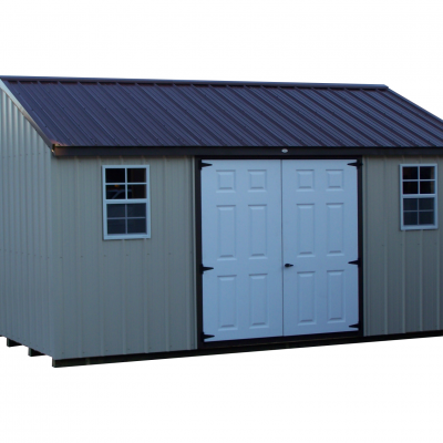 Metal shed with metal siding. Shed has 6 foot wide set of double fiberglass doors and two windows