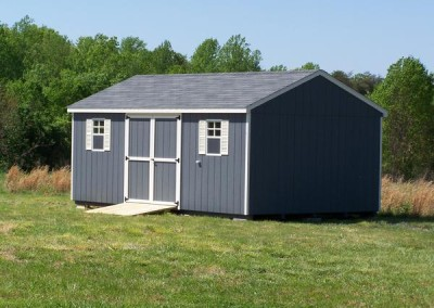 12 x 20 Painted A-roof painted gray with pearl trim, estate gray shingles, and cream shutters