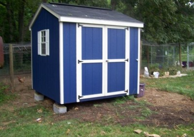 A blue painted 8x8 shed with white trim. Shed has a set of double doors and a window with white shutters. The roof is a-roof style and is shingled.