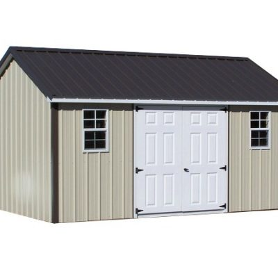 All metal shed with classic roof style and a set of double fiber glass doors. Shed has black trim and two windows