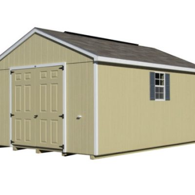 Painted shed with shingled, a-roof style roof. Shed has two solid, fiberglass doors and two windows with shutters