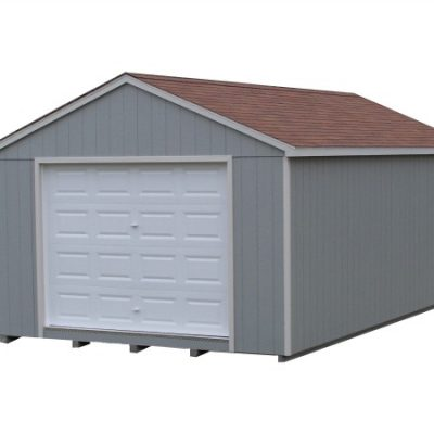 Painted shed with a shingled, a-roof style roof. Shed has a garage door and a solid fiberglass door