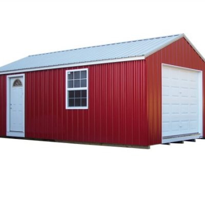 A red metal shed with white metal, a-roof style roof. Shed has 9x6 garage door and a house door.