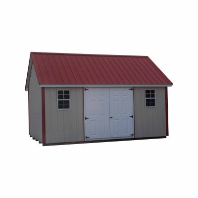 All metal shed with garden style roof. Shed has two fiberglass doors and two windows