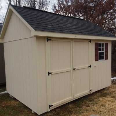 8 x 12 Painted Garden Shed (MO# 598) Navajo White Siding, Cream Trim, Architectural Black Shingles, Redwood Shutters. 10' Ridgevent, 6' Double Doors Up-Grade. $2,667.00
