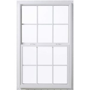 A white 24x38 glass pella window with grids for shed