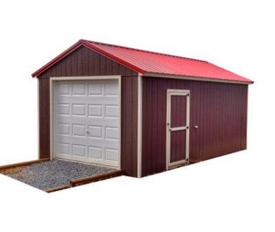 A red painted, a-roof style red metal roofed shed. Shed has white trim, a garage door at one end, and a 3 foot solid GGS door