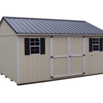 A painted shed with a black, metal, a-roof style roof and white trim. The shed has a 6 foot wide set of solid, GGS, doors and two windows with black shutters.