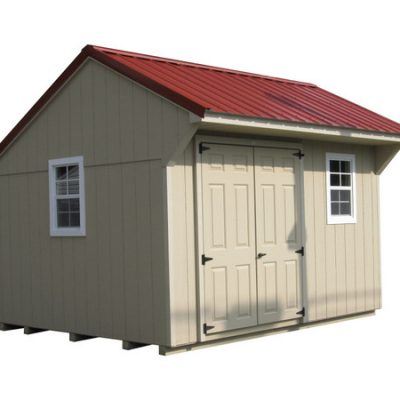 A painted shed with a red, metal, carriage style roof. Shed has a 6 foot set of solid, painted, GGS doors and two windows