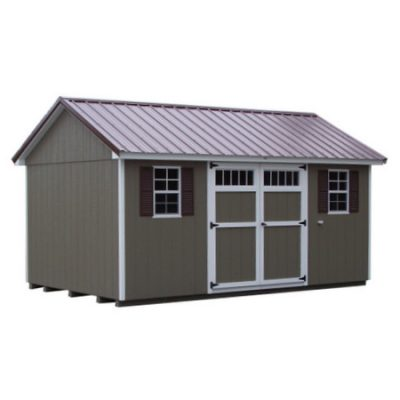 A brown painted shed with a metal, classic style roof and white trim. The shed has a 6 foot set of GGS Doors with transom windows, and two windows with shuttersPainted Classic with Metal Roof
