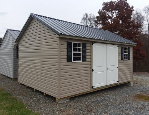 12 x 16 size vinyl classic style shed with clay siding, clay trim, black metal roof, black shutters, l p pro struct flooring, 6 foot 2 plank fiber doors with two windows