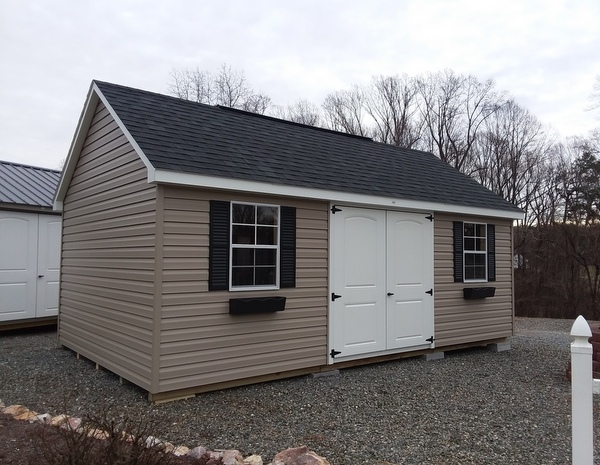 12 X 20 Size Vinyl Garden Style Shed With Clay Siding, White Trim, Black