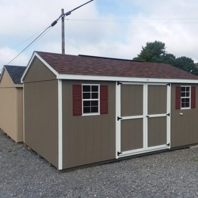 10 x 16 size painted a-roof style shed with clay siding, white trim, brownwood architectural shingle roof, redwood shutters, 8' ridgevent, l p pro struct flooring, ggs 6 foot doors, two windows.
