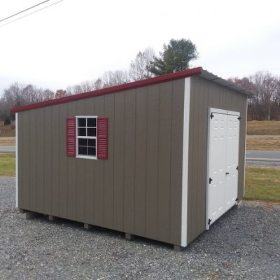 12x12 size painted economy style shed with clay siding, white trim, rustic metal roof, maroon shutters, 6 foot fiber doors with two windows