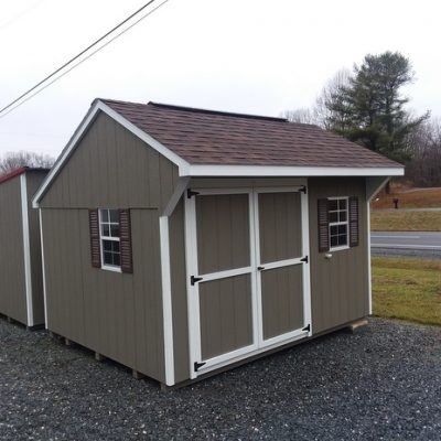 10 x 12 size painted carriage style shed with clay siding, white trim, brownwood architectural shingle roof, brown shutters, 8' ridgevent, lp pro struct flooring, ggs 6 foot doors with two windows, silver tech smart siding.
