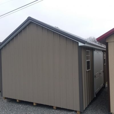 12x16 size Metal Classic style shed with taupe siding, charcoal metal roof, l p pro struct flooring, 2 plank 6 foot fiber doors with two windows