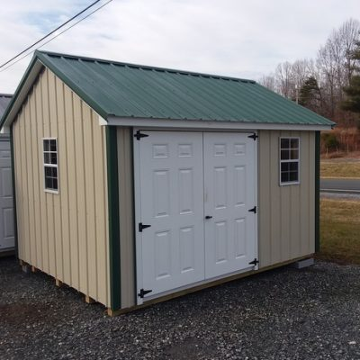 10x12 size Metal Classic style shed with Light Stone metal siding, Hunter metal roof, 6 foot fiber doors with two windows