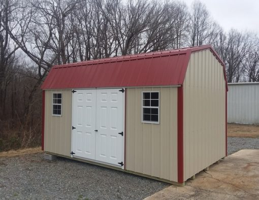 10x16 size Metal high barn style shed with Light Stone metal siding, rustic metal roof, 6 foot fiber doors with two windows