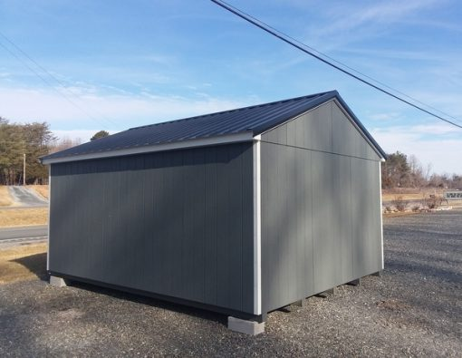 12 x 16 size painted a-roof style shed with gray siding, white trim, black metal roof, black shutters, fiber 6 foot doors, two windows.